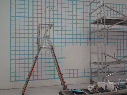130sqm of Graphic Grid painted in 14 days fr Damien Hirst