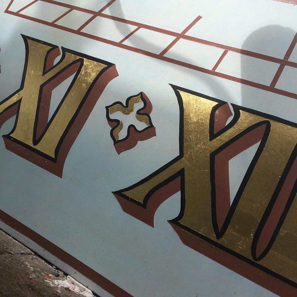 Gold leaf Lettering work by Nick Garrett NGS London