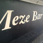 Hand painted Meze Bar sign fascia, Nick Garrett Traditional Signwriter, Shoreditch and City