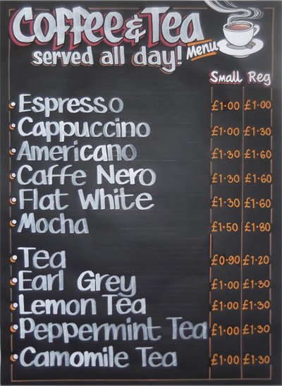 Coffee & Tea Menu NGS