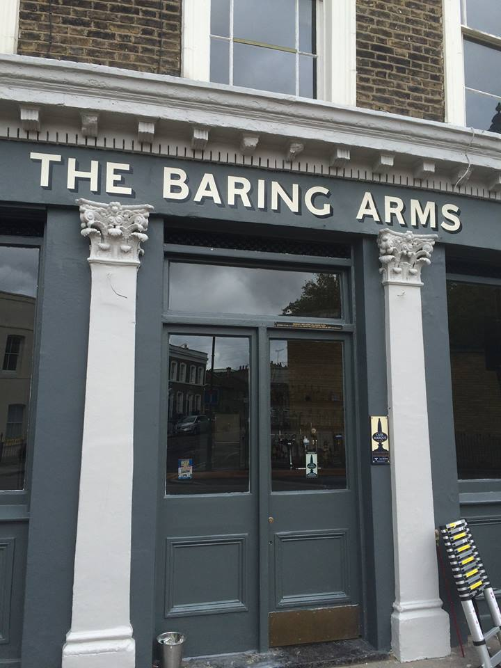 The Baring Arms - Nick Garrett by hand signwriting