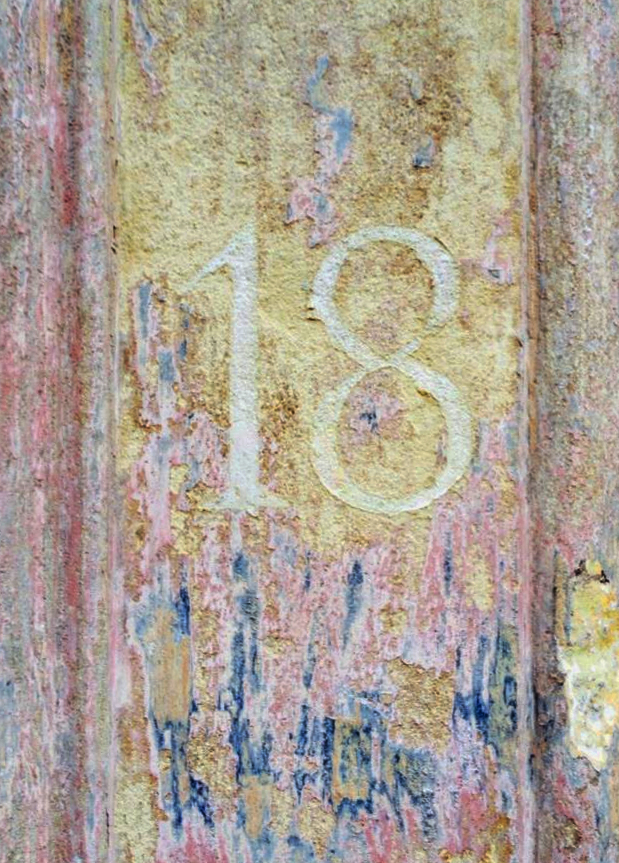 Restored distressed numeral 8