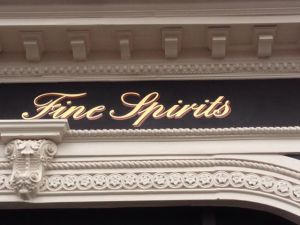 Fine Spirits Gold leaf lettering Nick Garrett NGS London Signwriter