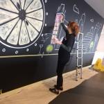 Chloe on the artwork - Chalkboards London