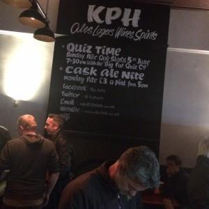 KPH Pub board NGS London signwriting