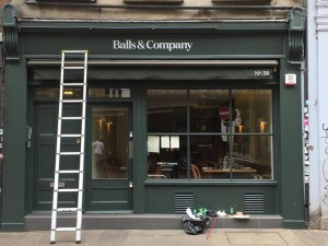 Fascia Balls & Company by NGS signwriting crew London UK