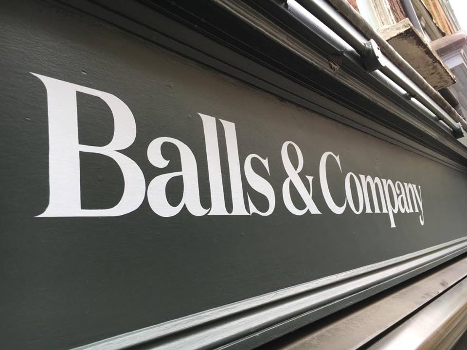 Fascia Balls & Company by NGS signwriting crew London