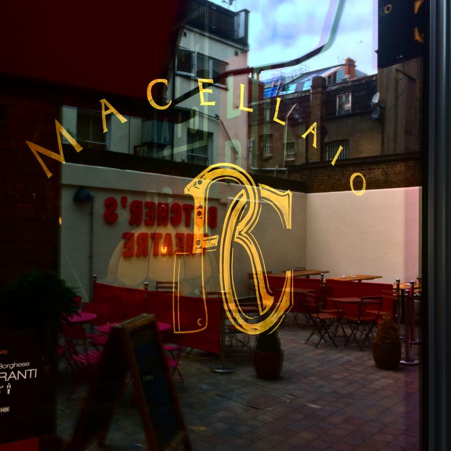 Macellaio restaurant, gold leaf NGS London signwriters